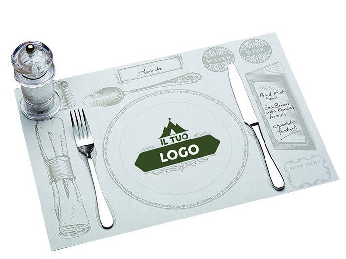 Tischunterlage für das Besteck mit Werbeaufdruck